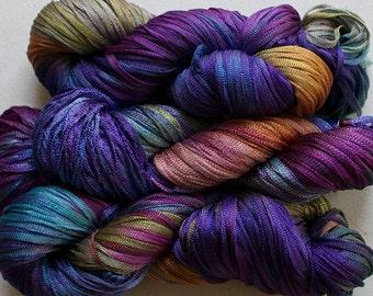 Moonbeam, Hand dyed ribbon yarn -Vineyard, 150 yds