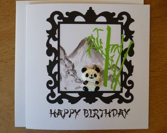 Panda  birthday card - panda greeting card - panda lover card