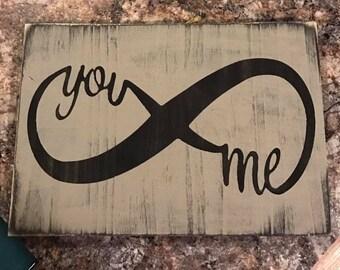 You/Me Infinity 18x12 Wood sign