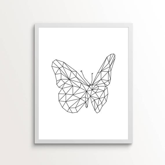 Line Art Drawing Print Wall Butterfly