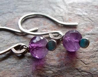 Amethyst Sterling Silver Earrings - Genuine Amethyst Gemstones on Handformed Sterling Silver Earwires