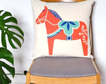 Hygge Horse Dala Cushion, Screen printed by hand and made in the UK