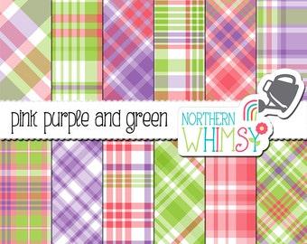 Pink Purple & Green Digital Paper - spring plaid scrapbook paper - pastel tartan printable paper - baby digital paper - commercial use OK