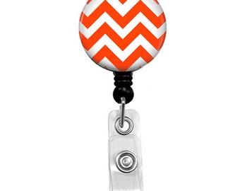 Orange and White Chevron Retractable Badge Holder - Alligator Swivel Clip or Belt Clip Badge Reel