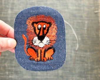 orange lion patch . 1970s vintage patch . embroidered denim iron on patch, anthropomorphic animal patch