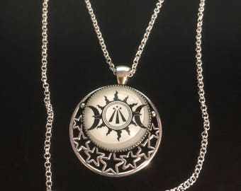 Awen pendant etsy awen celtic druidic symbol pendant triple moon and sun necklace 00497 mozeypictures Gallery