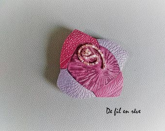 Handmade brooch made of violet and silver polymeric paste (SP13)