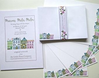 Writing Paper and Co-ordinating Envelopes Set, Maisons Mélis-Mélos Design