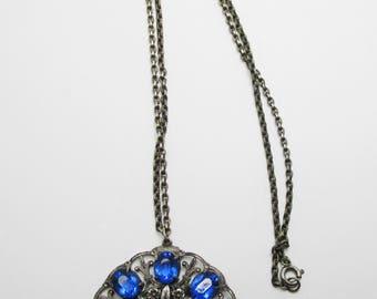 Vintage-Jewelry-Silver-Rhinestone-Pendant-Necklace-Costume Jewelry-Art Nouveau-Blue-Women-Gift-Birthday-Birthday Gift-Anniversary