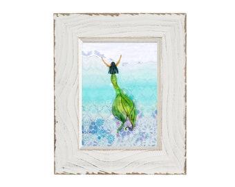 Maui Mermaid, Wall Art, Mermaid Print, Home Decor,  Fine Art Print, Ocean, Sea Nymph, Mermaid, Coastal Home Wall Art, Beach Art, Beach