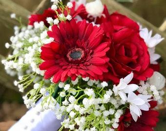 Red Rose Gerbera Daisy Wedding Bouquet