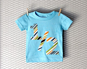 Boys Stripe 1/2 Birthday Number Onesie/Tee - Custom Size/Shirt Color/Sleeve Length, Boy Girl Age stripe teal blue half party 6 months