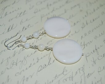 White Natural Shell Long Dangled Earrings