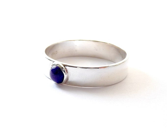 Lapis Lazuli Ring December Birthstone Ring Blue Small Round Gemstone Cabochon Ring Straight Blue Cab Ring Sterling Ring Size 7 3/4 Art Deco