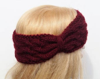 Burgundy Ear Warmer,Knitted Winter Headband ,Handmade Ear Warmer, Wool Ear Warmer,Burgundy Headband,Crochet Headband,Knit Turban Headband