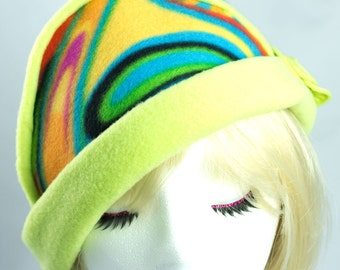Winter Fleece Hat Lime Green 1920s Flapper Cloche Styling | Packable Hat | Colorful Chemotherapy | Warm Beanie Rainbow Funky Festival Hat