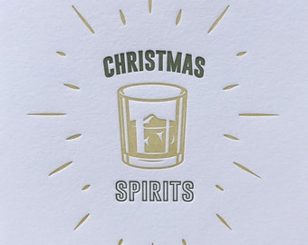 Christmas Spirits Holiday Letterpress Greeting (Pack of 6)