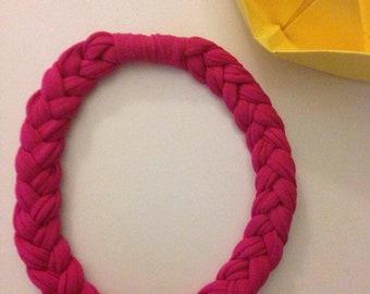 Braided Necklace in Fuchsia ribbon