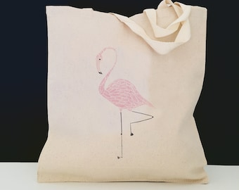 Personalized Flamingo Tote Bag (FREE SHIPPING), 100% Cotton Canvas Flamingo Tote Bag, Flamingo Bag, Flamingo Gifts, Tote, Flamingo Tote Bag