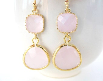 Pink glass earrings. Gold pink bridesmaids earrings Bridesmaids jewelry. Pink drop earrings. Ice pink earrings. Blush pastel pink earrings