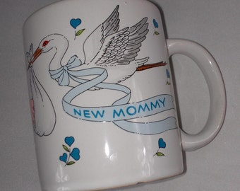 New Mommy Lego Coffee Mug Cup Stork Baby Nursery Babies Rare Collectible