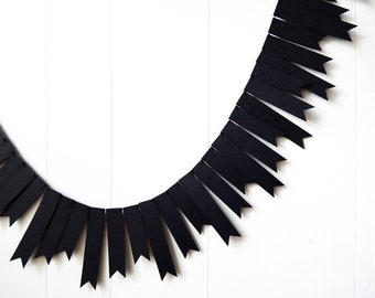 Black Flag Garland / Halloween Decor / New Years Decor / Over The Hill Black Bunting / Flag Garland / Black Photo Prop / Nursery Decor