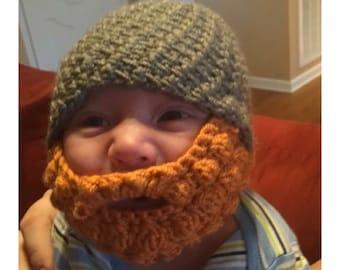 Bearded Baby Hat, Crochet Beard Photo Prop, Just Like Dad Beanie