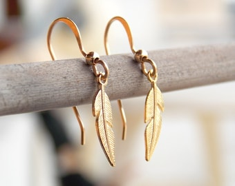Gold Feather Earrings, Feather earrings, Tribal Earrings, Gold Filled Earrings