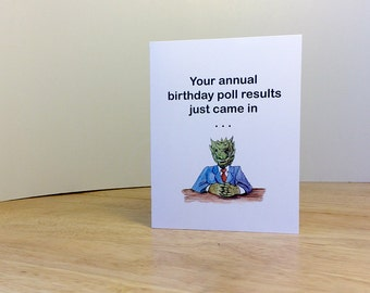 Funny birthday card for child or adult. Dragon in a suit delivers awesome birthday message.