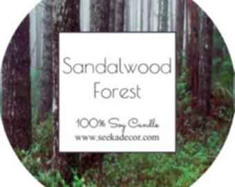 Sandalwood Forest, Scented 100% Soy Candle, Choose Your Size, Hand Poured Soy White Wax made By Seeka Decor