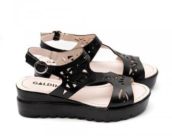 Women Black Platform Genuine Leather Sandals, Lace Leather Sandals, Perforated Leather Sandals, Black Platforms, Genuine Leather Shoes