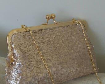 blush/ champagne   sequin wedding clutch purse bridal prom evening clutch BBsCustomClutches