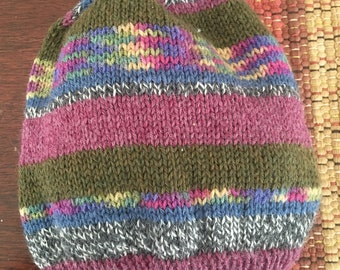 Multi-color Striped Slouch Hat