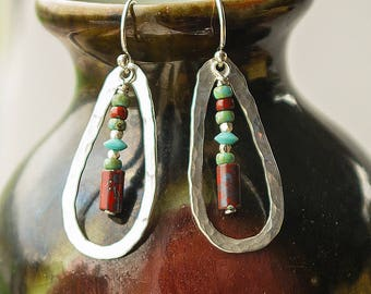 Beaded Earrings, Boho Earrings, Long Dangle and Drop Earrings, Boho Earrings, Colorful Earrings, Hammered Silver, Hypoallergenic earrings