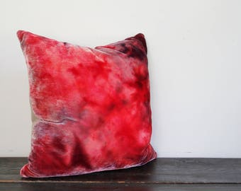 One of a Kind Fushia, Pink, Red and Plum Ice Dyed Silk Rayon Velvet and Wool Throw Pillow
