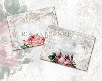 Printable Gift Card Romantic Roses Shabby Chic Instant Download Write On Card Digital Collage Sheet Scrapbook Images Decoupage Paper