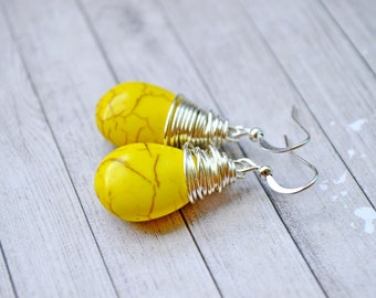 Bright Yellow Turquoise Earrings, Vibrant Yellow Wire Wrapped Teardrops, Faux Turquoise Drops, Silver Hooks