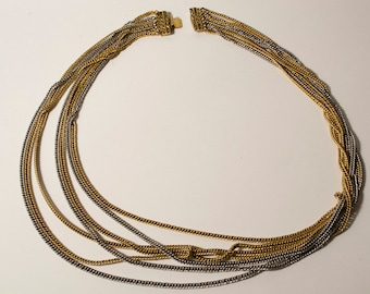 Vintage Silver and Gold 7-chain Necklace