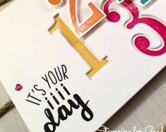 Birthday Handmade Greeting Card - Stampin' Up Number of Years