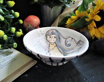 Bowl with illustration of little girl and Cat