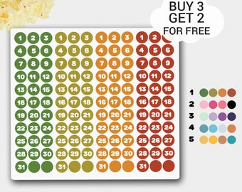 Mini Dates Stickers for Bullet Journal, Number Stickers, Calendar Stickers, TN Stickers, Midori Stickers