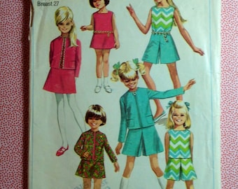 Vintage Simplicity Sewing Pattern 7566 Girls Scooter Dress Size 8