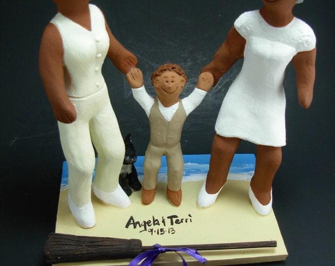 Gay African American Bride's Jump Broom Wedding Cake Topper, African American Lesbians Wedding Cake Topper, black lesbians wedding statue