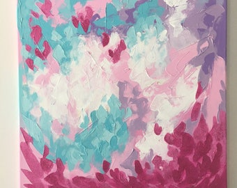 """Original Abstract Painting on Canvas, Pink, Turquoise, Purple, Glitter, 20"""" x 20"""""""