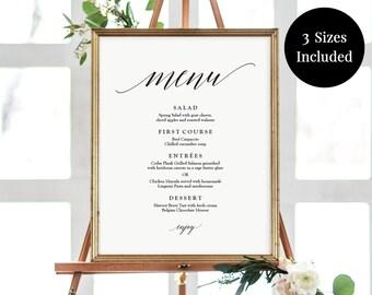 Poster Size Menu - Wedding Menu - Buffet Menu Sign - Dinner Menu Sign - 11x14, 16x20, 18x24 - Printable Modern Menu Editable PDF - #GD0523