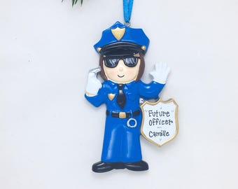 Police Woman Personalized Christmas Ornament /Policewoman / Police Officer / Toddler Ornament / Child Ornament