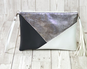 Silver clutch bag, Black clutch leather Wedding clutch, Vegan leather clutch purse Holographic clutch Tassel clutch white bridesmaid gift