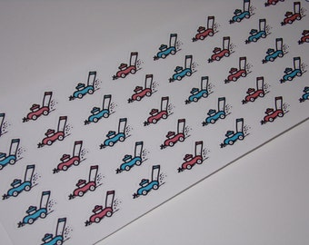 40 Lawn Mower Stickers / Mowing Stickers / Planner Stickers ~ Great for your Erin Condren Life Planner/ Hand-drawn