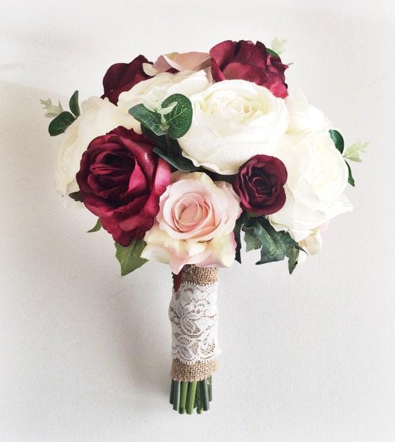 Silk wedding flowers // Marsala Wedding Bouquet // Bridal