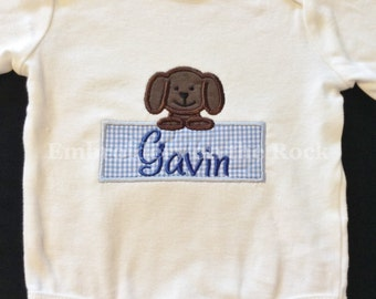Personalized baby gifts etsy personalized baby gift puppy embroidered boy baby shower gift girl baby shower gift new baby gift coming home outfit bodysuit negle Image collections